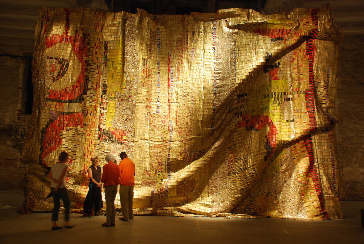 El-Anatsui installation in the Arsenale