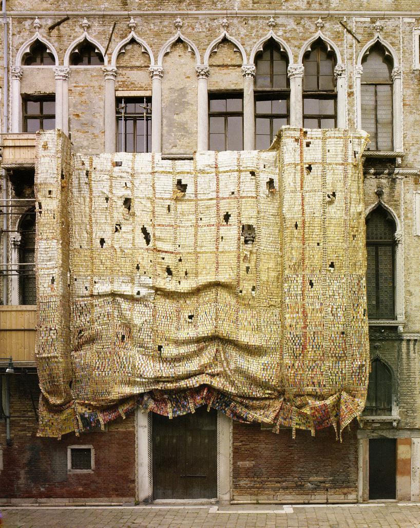 Palazzo Fortuny draped by El Anatsui