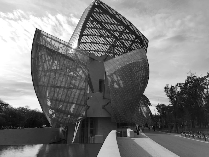 View of Frank Gehry's newest building, the Louis Vuitton Fondation, an Art Museum and Performing Arts Center in Paris.