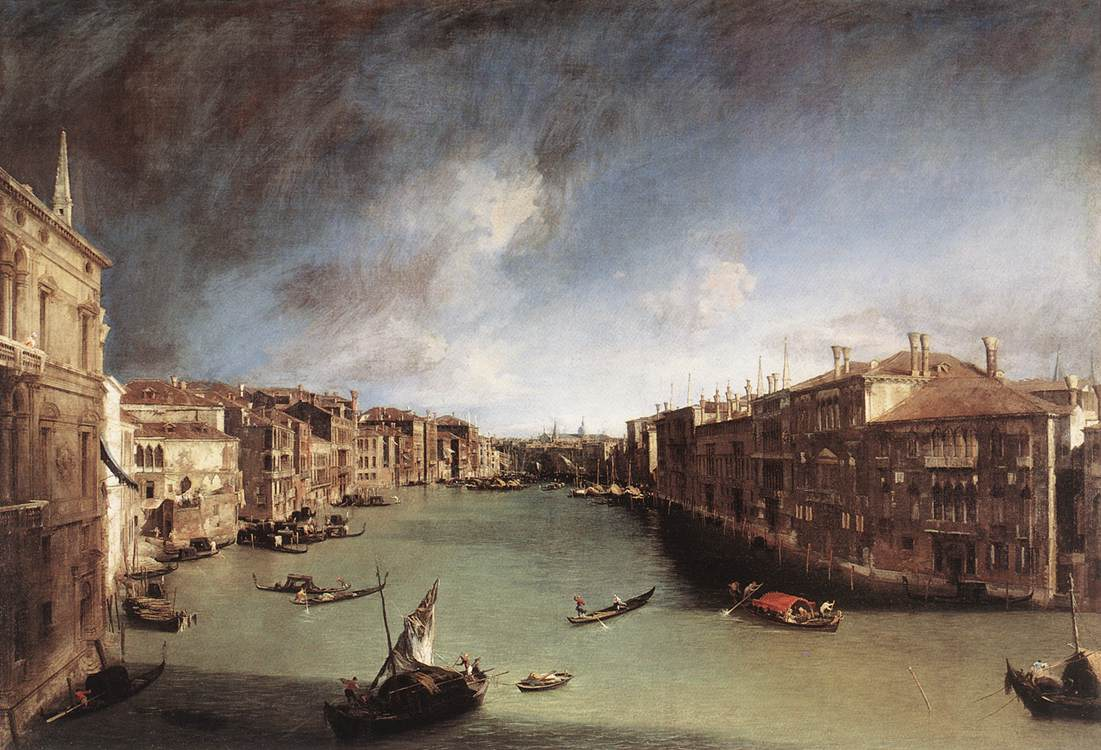 Canaletto painted this view from a palazzo near Venice's Rialto bridge in Venice around 1722.