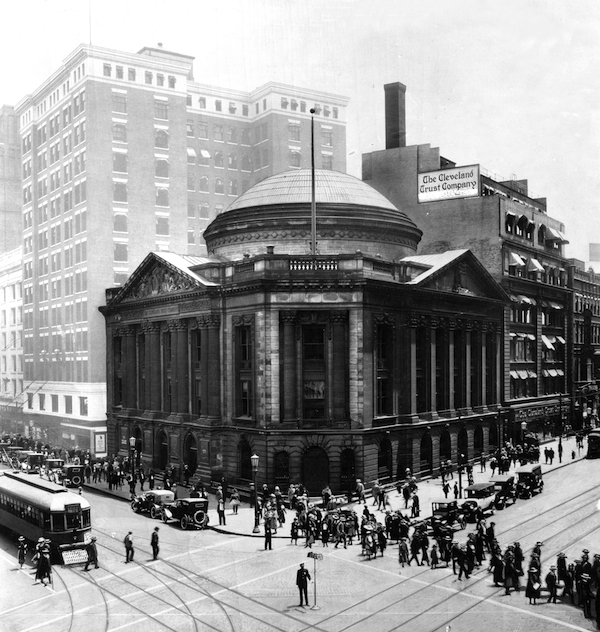 "Ancient Rome comes to Cleveland, Ohio in the form of the Pantheon-based, Cleveland Trust Building constructed in 1911. Now a ""ruin"", the building is soon to be re-purposed as a downtown grocery store. Photo courtesy Cleveland State University archives."