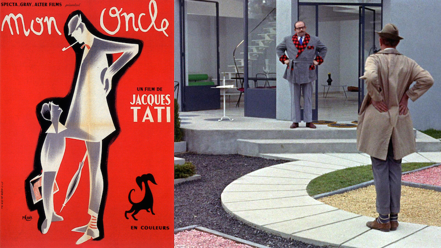 Modern Architecture is lampooned in the 1958 farce by Jacques Tati. This film, which won an Oscar for best foreign film, was effectively used in the French Pavilion to question the viability of Modernism. The film created an indelible dent in the sleek brand of French ultra moderne.