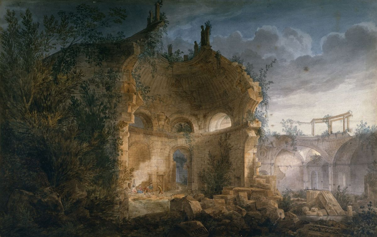 "Sir John Soane's Rotunda of the Bank of England in Ruins, painting by Joseph Gandy, 1789. The painting evokes Shelly's sonnet Ozymandias, ""Look on my works, ye Mighty and despair!"""