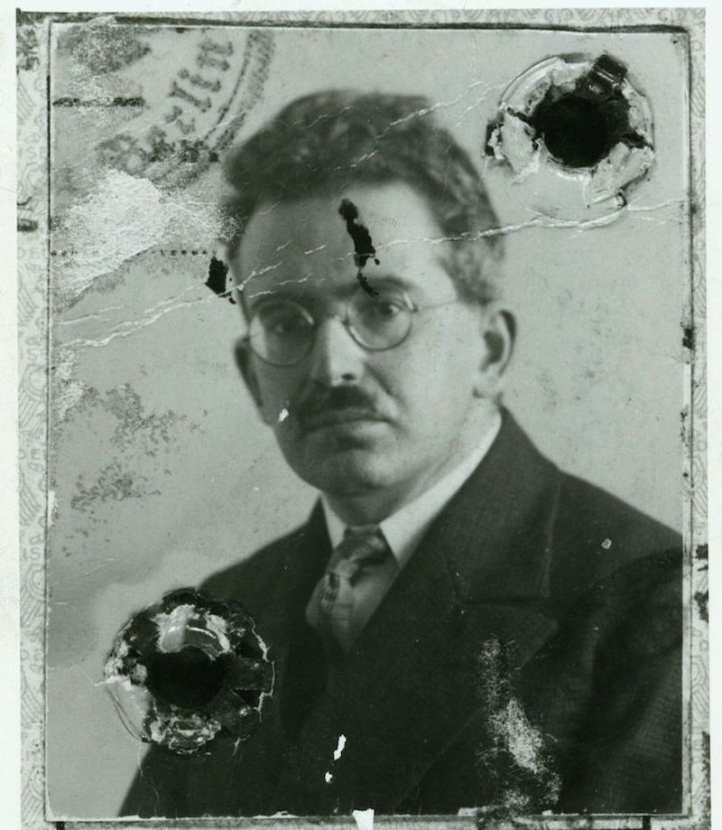 Walter Benjamin's passport photo. His works are filled with ideas that coincided with the art on this trip with unsettling clarity.