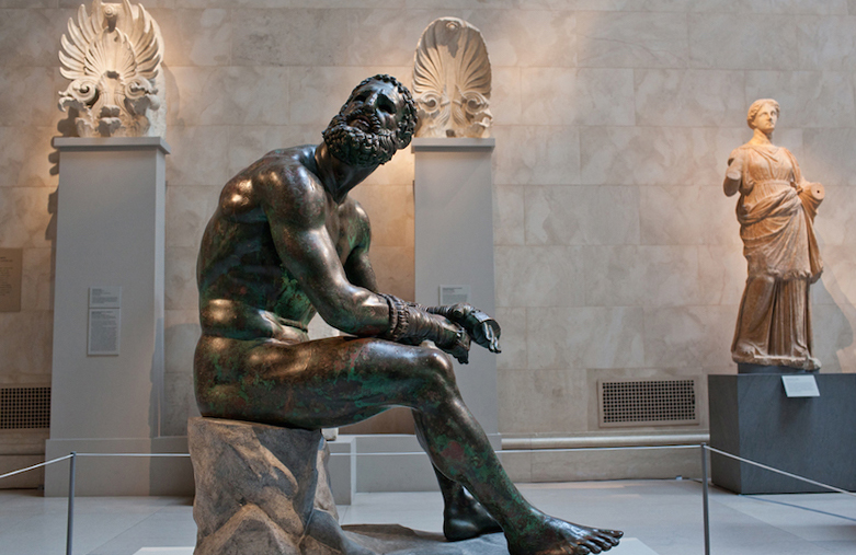 The Boxer on view at the Metropolitan Museum in New York.