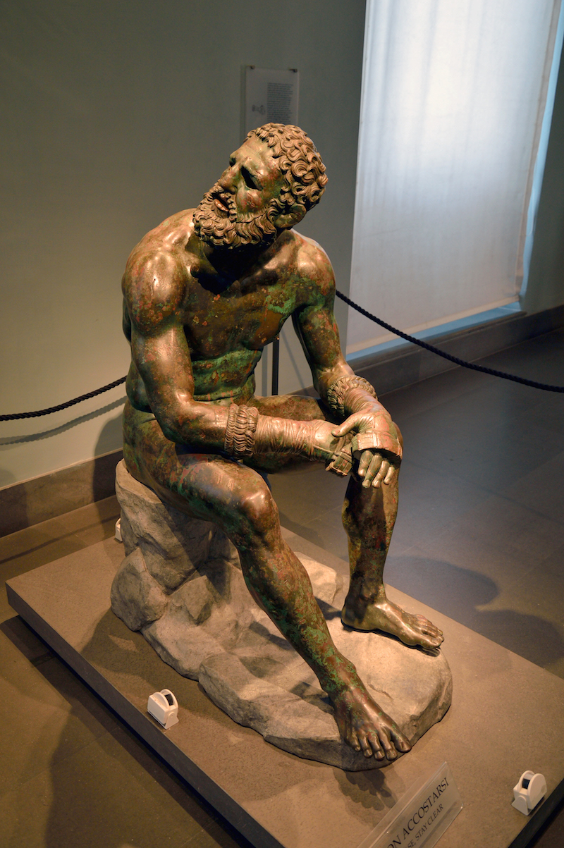 "The astounding ""Boxer of Quirinal."" An impossibly rare Hellenistic bronze from 330 B.C. His palpable presence filled the gallery at the Palazzo Strozzi's exhibition and stole the show."