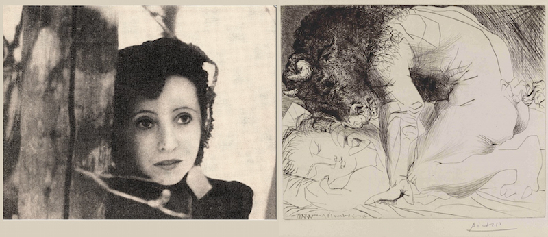 Dreamy portrait of Anaïs Nin paired with an etching by Picasso of one of his favorite themes.