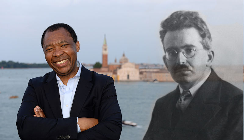 Okwui Enwezor, Director of the 2015 Venice Biennale pictured here with scholar/philosopher Walter Benjamin