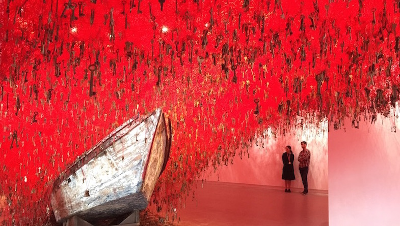 Over two hundred miles of red yarn and over 50,000 keys in artist Chiharu Shiota's hands create a sublime time-stopping moment at the 2015 Venice Biennale