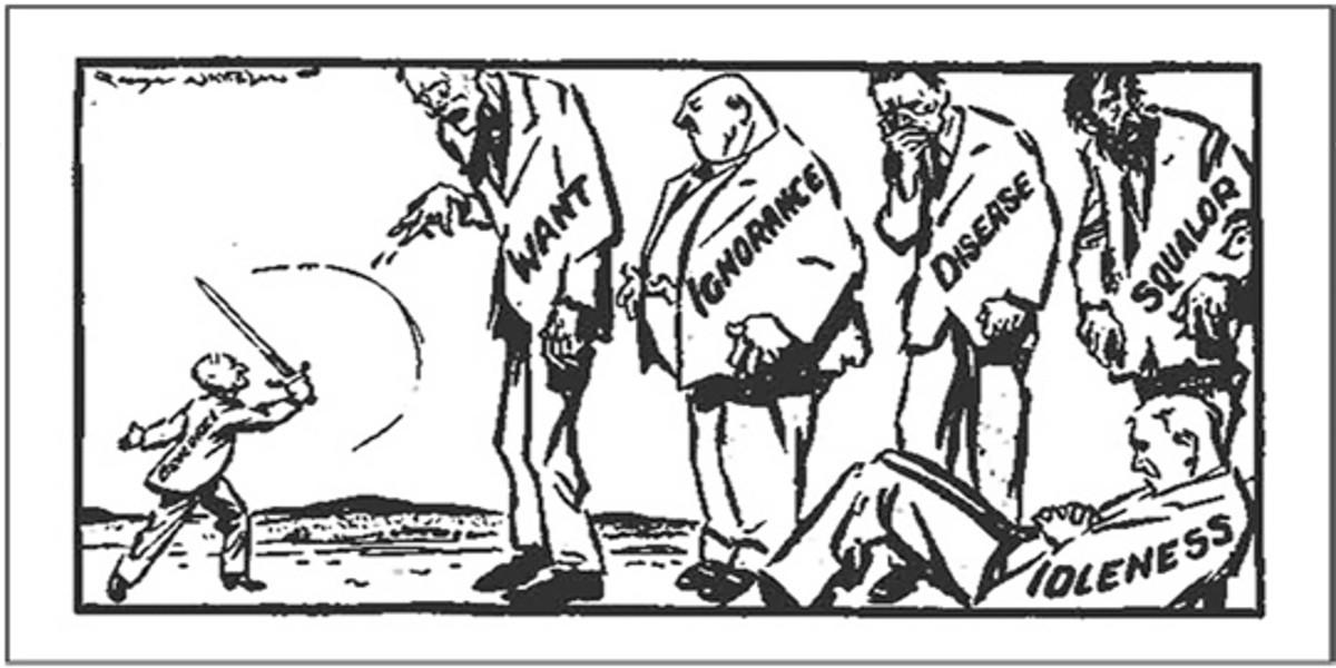 Cartoon depicts Sir William Beveridge battling his five giants of poverty.