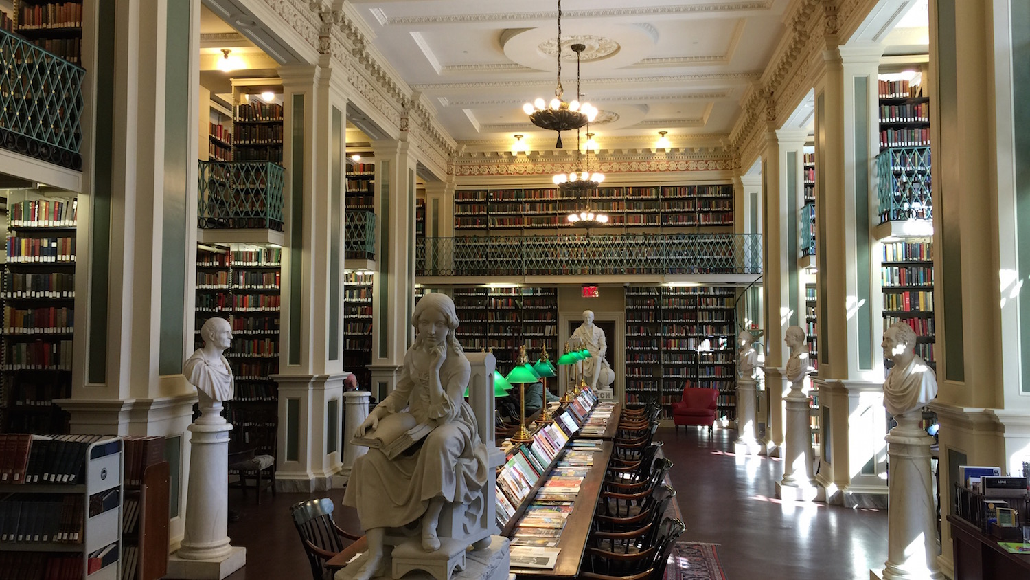 "The second floor of the Boston Athenaeum a ""center of Boston intellectual life since 1807"""
