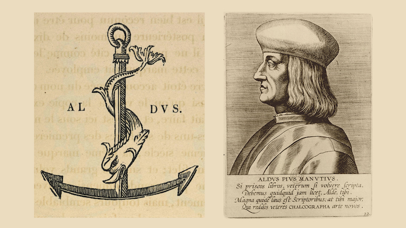 "The famous logo of the Aldine Press features an anchor and a dolphin, a visual depiction of the latin phrase, ""Festina Lente"", make haste slowly, a perfect sentiment for craftsmanship and the pleasure of reading. 17th Century portrait of Aldo Manuzio, Bridgeman Images, Bibliothèque Nationale, Paris"