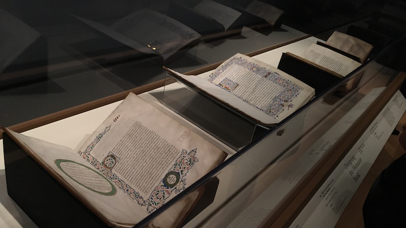 Illuminated manuscripts under glass at the Isabella Stuart Garner Museum which has one of the largest collections of rare books and manuscripts in Boston