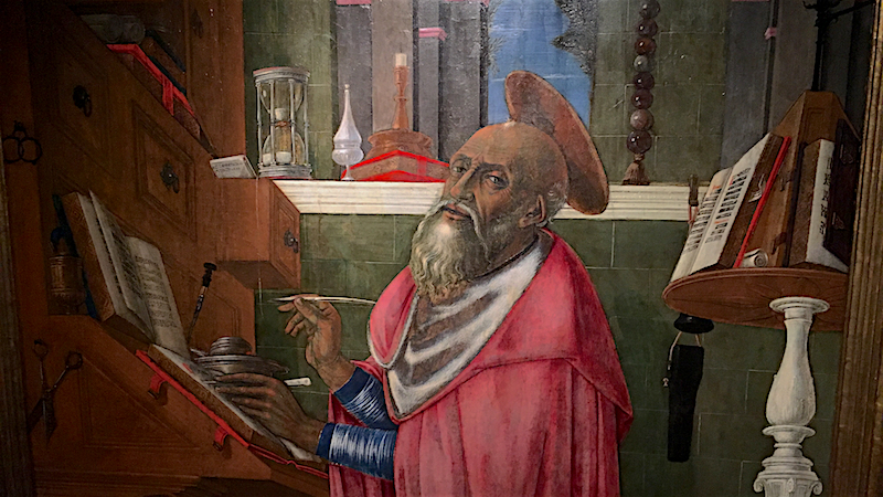 On display in the Boston show is this painting by Matteo di Giovanni of St. Jerome in his study from the Harvard Art Museums.