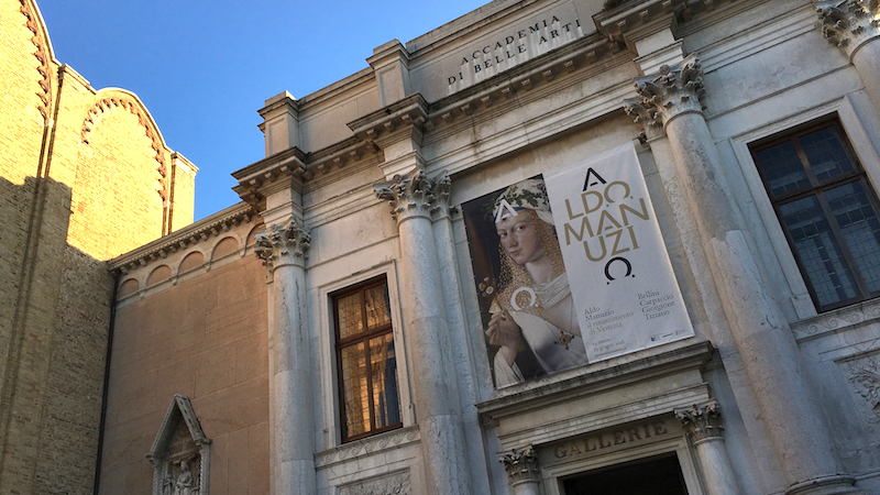 Front entrance to the Gallerie Accademia in Venice welcomes visitors to a show on one of Venice's most impressive inventors, Aldo Manuzio who founded the famous Aldine Press.