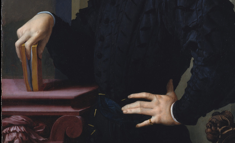 Detail of this early 16th Century Bronzino portrait of a young gentleman features a surprising new invention that would soon take the world by storm. Metropolitan Museum of Art, portrait of Agnolo di Cosimo di Mariano, H. O. Havemeyer Collection, Bequest of Mrs. H. O. Havemeyer.