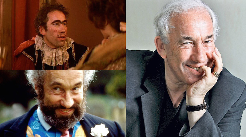 Simon Callow as he appeared in Amadeus, Four Weddings & a Funeral, and in a recent photo for the Telegraph