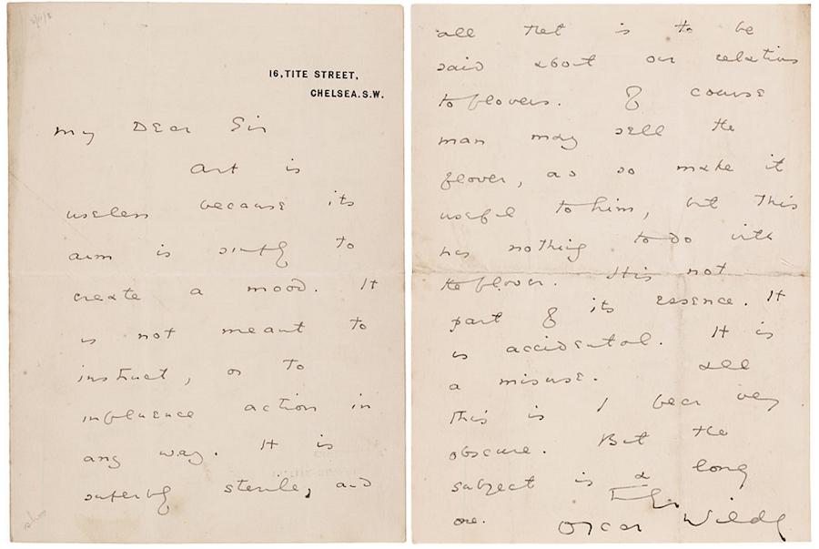 "Two pages from the original letter written by Oscar Wilde explaining what he meant by the phrase, ""All art is useless."" Courtesy Morgan Library"