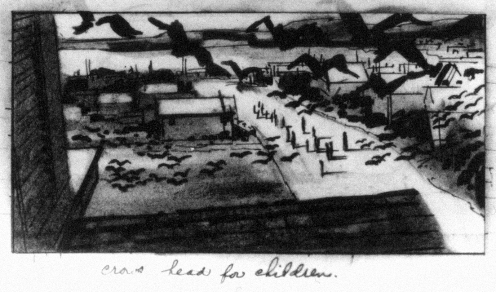 "Storyboard illustration for Alfred Hitchcock's ""The Birds"" (1963). Alfred Hitchcock was famous for building the film in his head. He was a master of preparation and obsessive attention to pre-production planning."