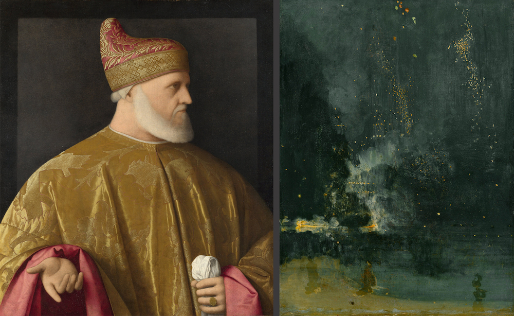 "The portrait of Venetian Doge Andrea Gritti was believed by Ruskin to be painted by the 16th Century master Titian. Ruskin's attorneys used it to represent ""true art"" as opposed to John MacNeil Whistler's ""Falling Rocket"", painted in 187X."