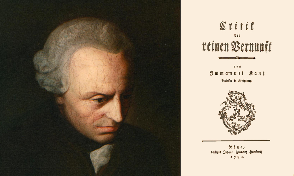 "Portrait of Immanuel Kant and the title page from his hugely influential ""Critique of Pure Reason published in 1781"