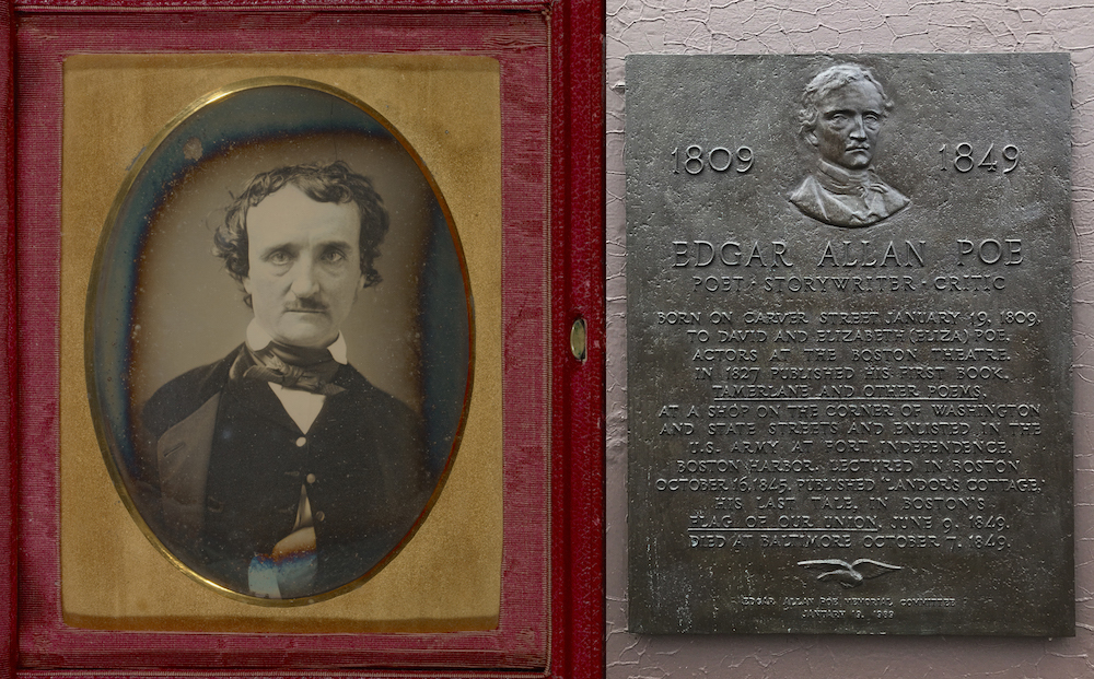 Edgar Allan Poe in a gorgeous daguerreotype now owned by the Getty. Poe was born in Boston in 1806 just a few blocks from Emerson's birthplace. A historic marker is all that is left of Poe's birth house.