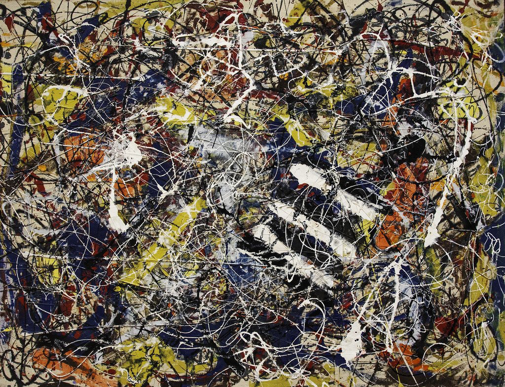 """Number 17A"" was painted by Jackson Pollock in 1948. It recently sold at auction for over 200 million dollars."